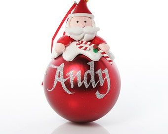 Personalised Red Santa Character Bauble