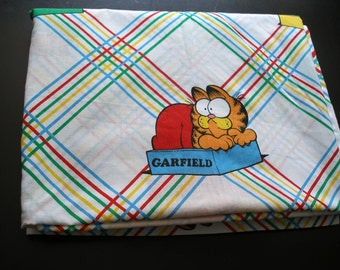 Vintage Garfield Twin FLAT Bed Sheet 1978
