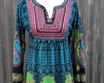 Hippy / boho style vintage long sleeve  patterned dress