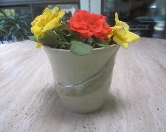 light brown ceramic vessel- flower vase, cup, or planter with wood grain design accent strip