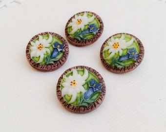 Charming vintage glass button lot 4pc  green Bavarian