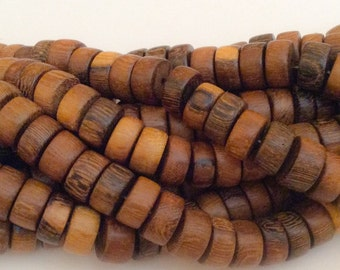 65 Natural Wood Beads, Robles Wood Beads, 12mm Rondelle