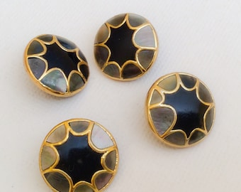 "Inlaid shell button lot 3/4""-4pc"