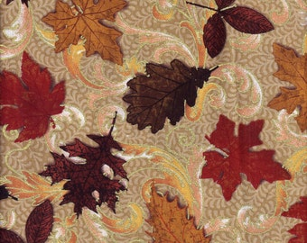 Fall Leaves in Brown Red Gold Curtain Valance