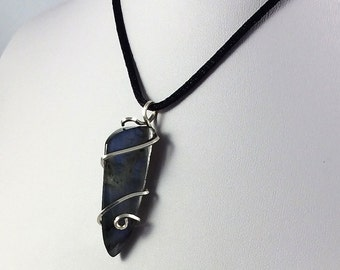 Spike Pendant, Gift for Dad, Labradorite Pendant, Sterling Silver Pendant, Gothic Pendant, Fathers Day , Black Iridescent Pendant, Unisex