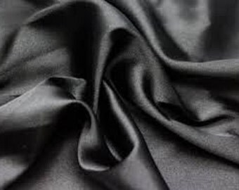 Black satin fabric  ,material ideal for coats and suits 150cm wide