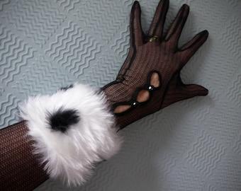 White with black spots cuffs, dalmatian print faux fur cuffs for fancy dress costume