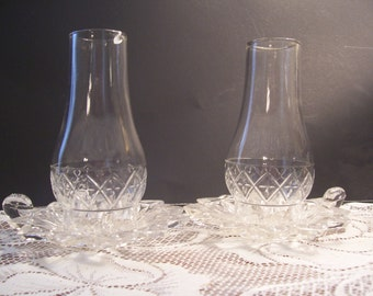 Two Crystal Hurricane Lamps
