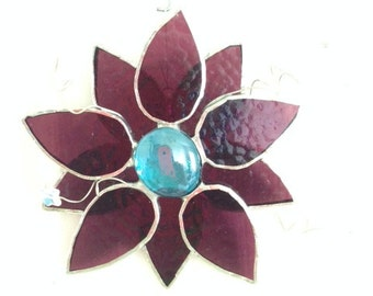 Stained Glass Flower Suncatcher, Purple
