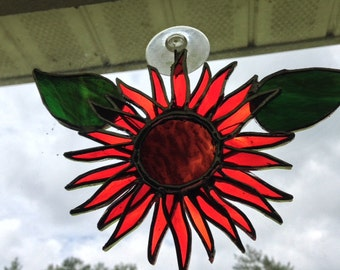 Stained Glass Flower Suncatcher, red Sunflower