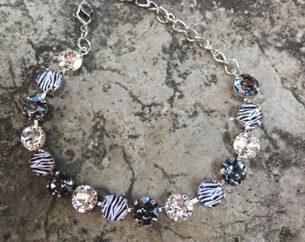 Zebra print swarovski bracelet