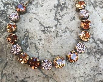Leopard print swarovski bracelet