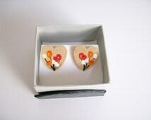 Heart Wood Stud Earrings orange & white flowers art Hand Painted Sterling Sliver Garden Gardening woodland Favour Mum Birthday Jewellery
