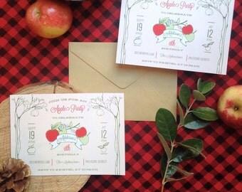 Apple Party Birthday Invitations