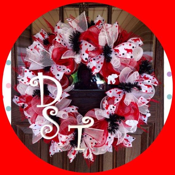 Delta Sigma Theta Sorority DST Wreath on Etsy 139 Red &