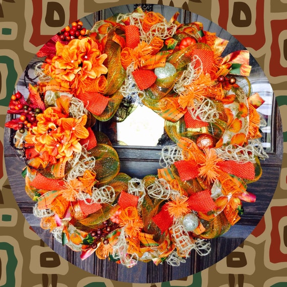 thanksgiving decorations fall wreath on etsy 146 brown
