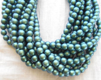 Fifty 6mm Czech glass beads, Polychrome Matte Aqua Teal Blue smooth round druk beads C31101