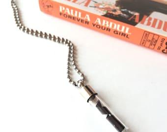Paula Abdul // Recycled Necklace // Cassette Tape Necklace // Vintage Music Vial Necklace // Secret Necklace // Unique Vial Neckla