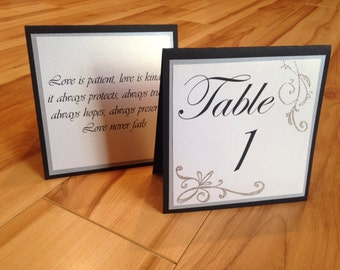 Wedding Table Numbers, Personalized Table Numbers, Table Number With Love Quotes, Black and Silver Wedding Table Numbers, Elegant Wedding