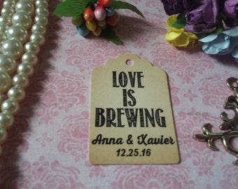 Love is Brewing Tag-Favor Gift Tags -Wedding Favors Personalized Wedding Tag, Wedding Favor Tag. Set of 25 to 300 pieces, Mini tag