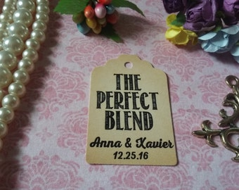 The Perfect Blend Tag-Favor Gift Tags -Wedding Favors Personalized Wedding Tag, Wedding Favor Tag. Set of 25 to 300 pieces, Mini tag