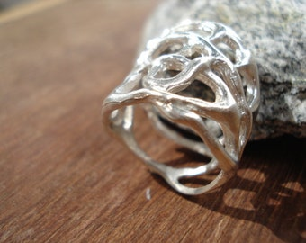 Big sterling silver ring // Statement Ring // Chunky Silver Ring R108