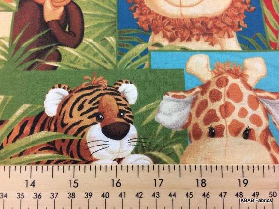 Jungle babies nursery fabric by the yard half yard patty for Safari fabric for nursery