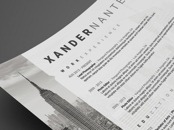 photographer resume template photoshop psd instant download