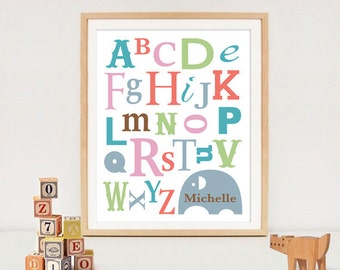 Customized Alphabet Name Art - Personalized Baby Name Digital Art / gift/ nursery art