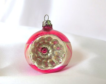 Vintage Christmas Ornament, Hot Pink Indent Poland Ornament