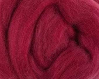 Extra fine Merino wool roving, Raspberry, 19 micron, 100 grams/3.5 oz.