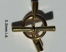 Kumihimo Toggle Clasp Gold Plate 3.2mm i.d.