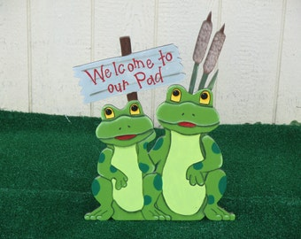 Frog Welcome To Our Pad Yard Sign