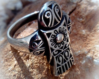 Falcon ring - Scythian ornament - Sterling Silver - Free Shipping
