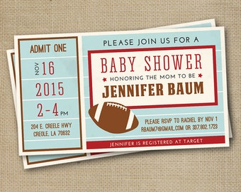 Vintage Football Ticket Baby Shower Invitation - Personalized, Boy or Girl, Printable Digital File