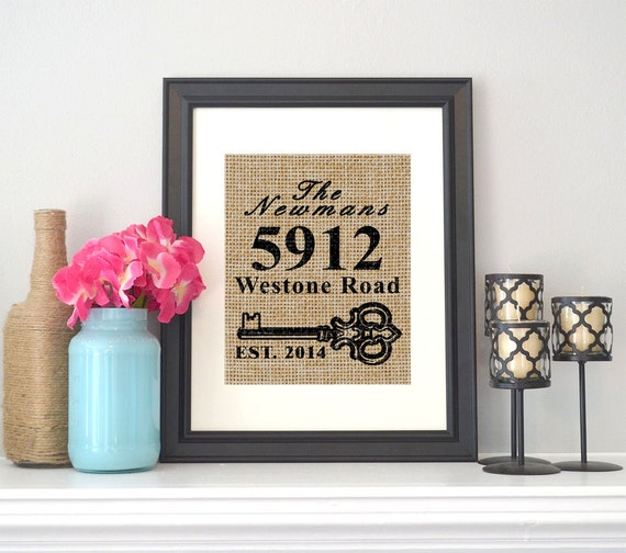 New home sign personalized burlap housewarming by for New home sign
