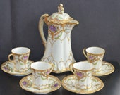 Reserved for Jessica Nippon Porcelain Chocolate Pot Cups & Saucers with Ornate Hand Painted Floral and Gold Design