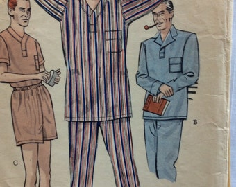 Butterick 5546 vintage 1940's men's pajamas sewing pattern size medium  chest 38 - 40