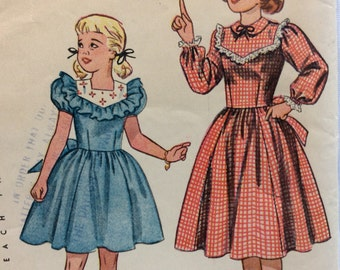 CLEARANCE!!  Simplicity 2657 girls dress size 7 vintage 1940's sewing pattern  Uncut  Factory folds
