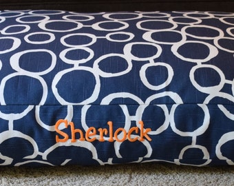 Navy Blue Dog Bed || Large Circles Pillow Cover || Custom Embroider Add Pets Name || Personalized Puppy Gift by Three Spoiled Dogs
