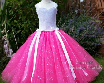 Pink Sparkly Tutu Dress -Princess Birthday, Party, Photo Prop, Pageant, Bridesmaid, Flower Girl