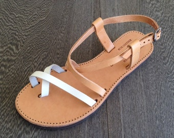 The Mykonos Tan and White Leather Sandal