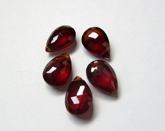 10x14 mm 1 pieces Natural Hessonite Garnet Pear briolette Faceted stone ( Top Side Drill ) AAA Quality gemstone...