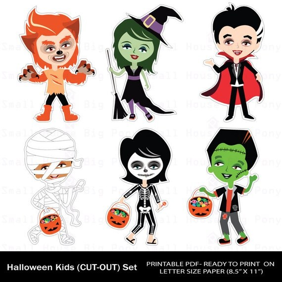 Halloween Clip art, Clipart ,  Printable Cut-Outs, Halloween Kids Clipart, Kids Clipart, Halloween Clipart- Instant download printable pdf