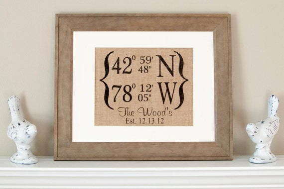 personalized burlap print longitude and latitude wall decor