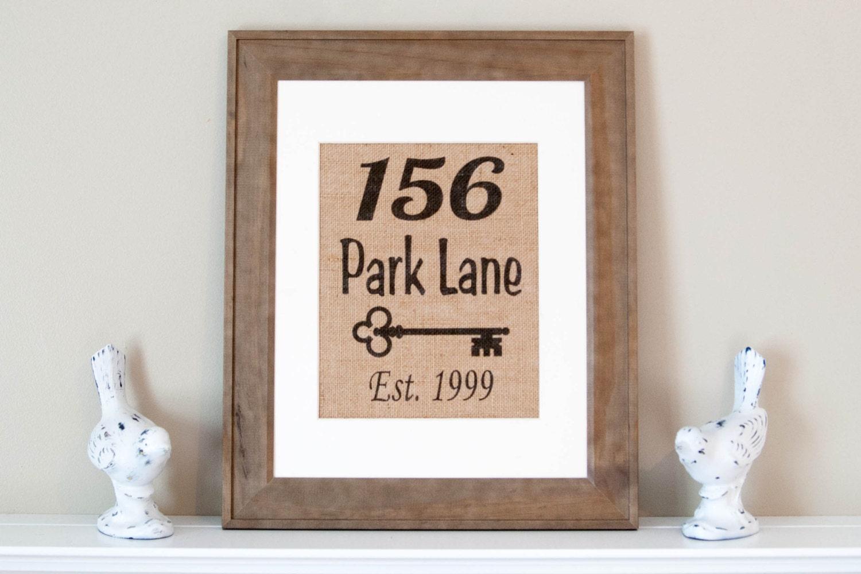 personalized burlap print address wall decor address home