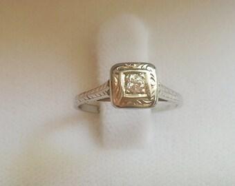 Gorgeous antique 1800s 0.7 carat round diamond 18K white gold ring size 5.75