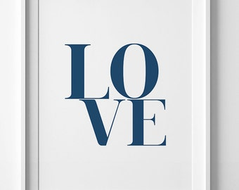 Love print, navy wall art, printable art, navy print, wall art print, love poster, printable wall art, home decor, modern print, navy poster
