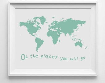 Nursery print, mint green decor, mint nursery decor, wall art print, world map print, world map art, mint green print, printable wall art