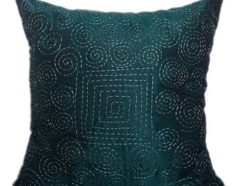 Kantha decorative pillow, teal kantha pillow, kantha cushion, jaipur kantha pillow, kantha sofa toss, kantha accent pillow,16x16 kantha